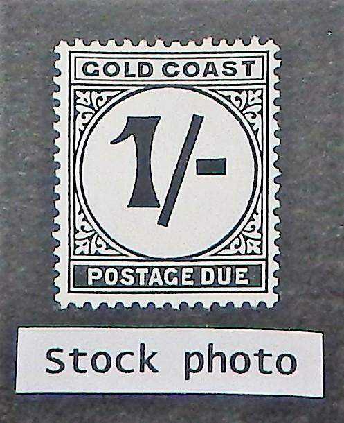 Gold Coast J8. 1951 1/-  Black postage due, NH