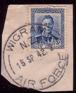 NEW ZEALAND 1942 GVI 3d on piece WIGRAM / AIR FORCE cds....................36178