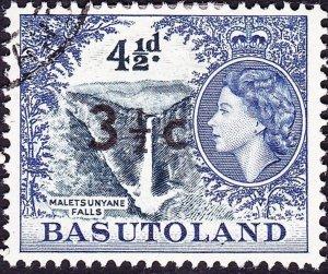 BASUTOLAND 1961 QEII 3½c on 4½d Indigo & Deep Ultramarine SG62 FU