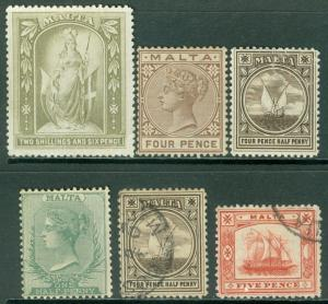 MALTA : Nice group of Earlies Mint & Used. A few with small faults. Catalog £25.