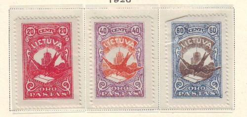 Lithuania Sc 37-9 1926 Airmail stamp set mint