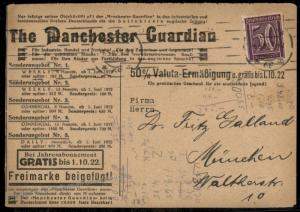 Germany 1922 Inflation Manchester Guardian Advertising Cover 72964
