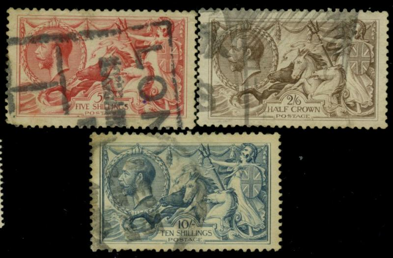 Great Britain #179-181 Used F-VF 180 small tear Cat$360