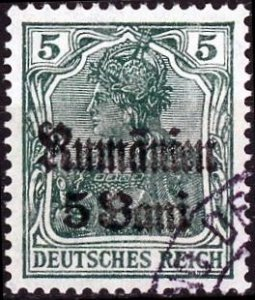 Romania #3N8 5b on 5pf Germania Surcharged Used