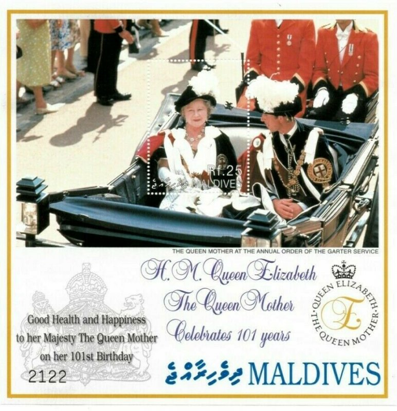 Maldives MNH S/S Queen Mother's 101st Birthday