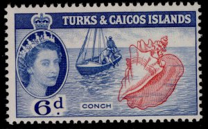 TURKS & CAICOS ISLANDS QEII SG244, 6d carmine-rose & blue, NH MINT.