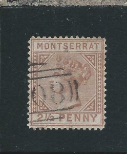 MONTSERRAT 1880 2½d RED-BROWN FU SG 4 CAT £180
