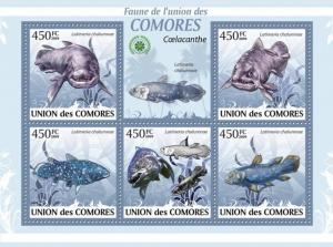 COMORES 2009 SHEET LATIMERIA CHALUMNAE COELACANTHE FISHES MARINE LIFE cm9409a