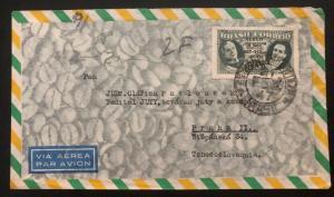1947 Sao Pablo Brazil Airmail Commercial Cover To Prague Czechoslovakia