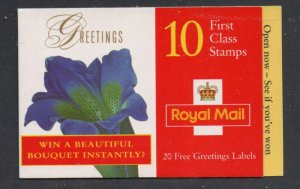 Great Britain Sc 1722a 1997 Flowers Greetings stamp booklet mint NH