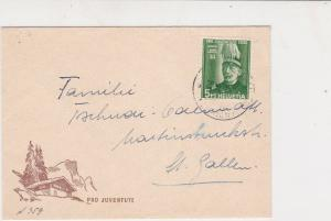 Switzerland 1939 Pro Juventute Chalet Wood Small Stamp Cover to Gallen Ref 25667