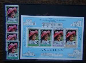 Anguilla 1980 80th Birthday of Queen Mother set & Miniature Sheet MNH