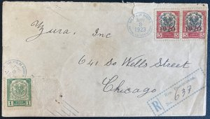1923 San Pedro Macoris Dominican Republic Registered Cover To Chicago iL Usa