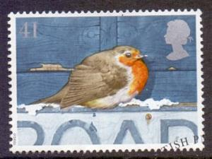 Great Britain 1995 used Christmas 41p   robin on road sign   #