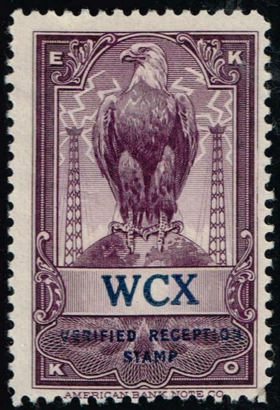 USA  - EKKO -  WCX - Detroit, MI - Verified Reception Stamp $19.95