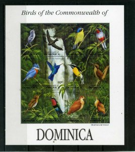 DOMINICA 1993 BIRDS OF DOMINICA SHEET OF 12 STAMPS MNH