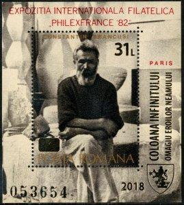 HERRICKSTAMP NEW ISSUES ROMANIA Sc.# 6067 Infinity Column, Tribute to Heroes S/S