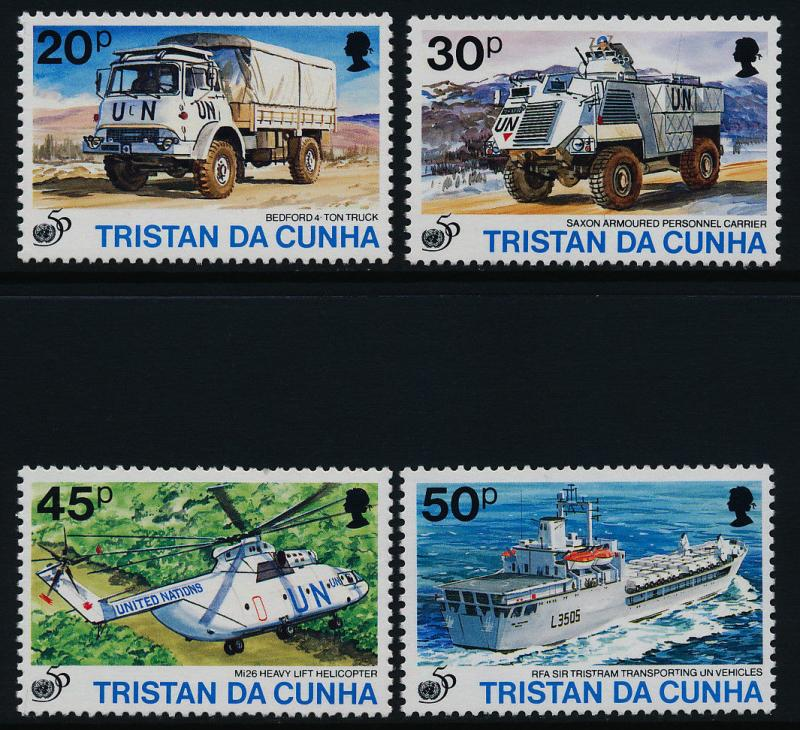 Tristan Da Cunha 568-71 MNH UN, Helicopter, Ship, Vehicles