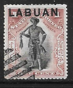 Labuan 72A: 1c Dayak Chieftain, used, F-VF