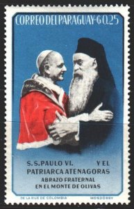 Paraguay. 1964. 1334 from the series. Meeting of the Pope and the Patriarch. ...