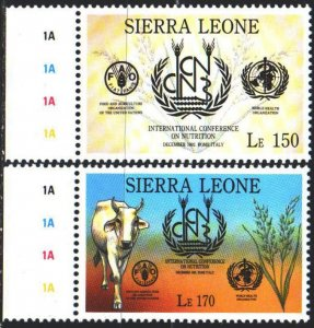 Sierra Leone. 1993. 1949-50. Rome Nutrition Conference, Cow. MNH.