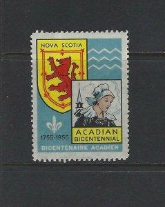 CANADA - ACADIAN BICENTENNIAL CINDERELLA (1955) MLH NOVA SCOTIA