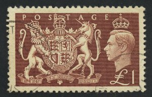 01902 Great Britain Scott #289 1-pound light red brown, used, light cancel