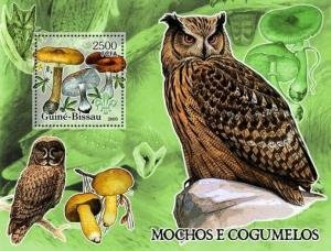 Guinea Bissau 2005 BIRDS OF PREY OWLS MUSHROOMS s/s Perforated Mint (NH)