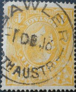 Australia 1916 GV Four Pence with GAWLER postmark