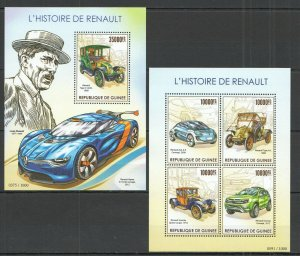 ST216 2015 Guinea Transport Cars History Of Renault KB + Bl MNH