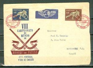 PORTUGAL 1952 HOCKEY #749-50 SET on NICE FDC