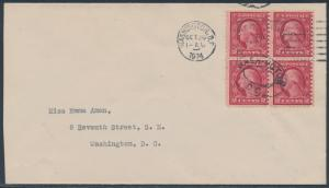 #540 BLOCK OF 4 ON 1924 COVER -- SCARCE -- BS3015