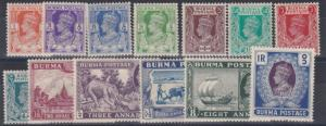 BURMA  1938 - 40   S G 18B - 30   PART SET TO 1R     MH   CAT £72
