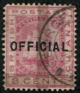 British Guiana SC# 88A SG# 146 Seal of Colony, 1c on 8c perf 14 wmk 1 Used
