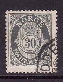 Norway-Sc#55- id5-used 30o sl gray-1907-