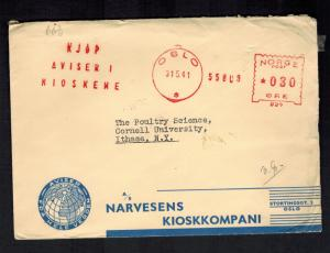 1941 Norway Oslo Censored Meter cover to USA Cornell University