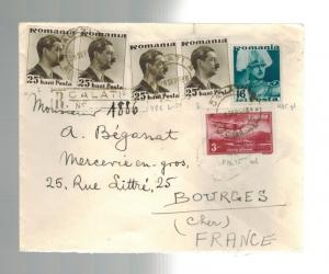 1936 Galatz Romania Registered Cover to Bourges France