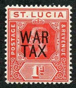 St Lucia SG89 War Tax (SG type 17) on 1d Scarlet Fine M/M