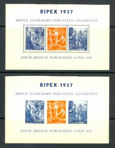USA 1937 BRONX NYC BIPEX Philatelic Exhibition Souvenir Labels Perf/Imperf. MNH