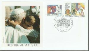 VATICAN POPE JOHN PAUL II RIENTO ALLA S SEDE 1986 FDC R202067