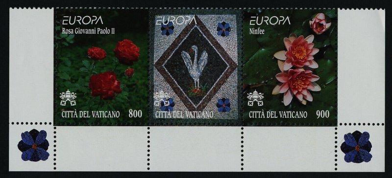 Vatican 1104a Bottom Strip MNH Flowers from Vatican Gardens