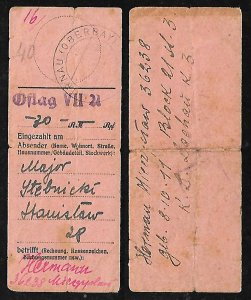 WWII MONEY TRANSFER RECEIPT FROM OFLAG POW CAMP TO CONC. CAMP DACHAU