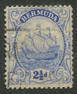 Bermuda - Scott 87 - Caravel - Wmk 4 -1928 - VFU -Single 2.1/2p Stamp