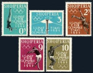 Albania 616-620, MNH.Pre-Olympics,Tokio.Woman diver,Pole vault,Shot putting,1962