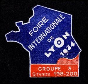 REKLAMEMARKE POSTER STAMP FRANCE FOIRE INTERNATIONALE DE LYON 1934 DIE-CUT