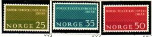 Norway Sc 443-5 1963 Textile Industry stamps mint NH