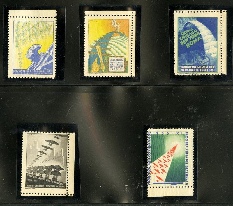 Italy 1933 Balbo Flight Officially Authorized Poster Stamps Rare