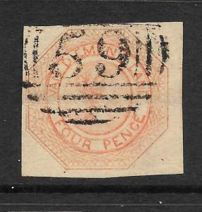 TASMANIA  1853  4d   ORANGE  QV  FU    SG 8