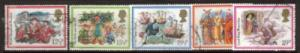 Great Britain Sc 1006-10 1982 Christmas stamps used