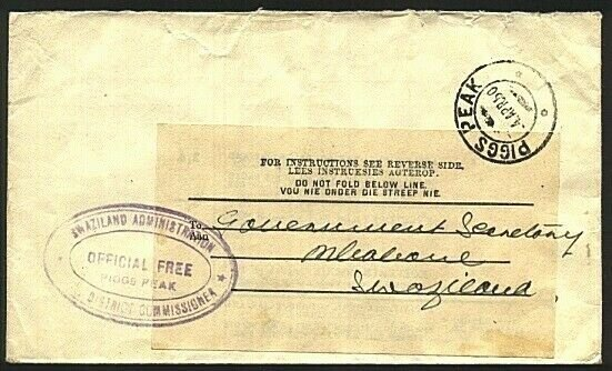 SWAZILAND 1950 Official Free cover ex District Commissioner PIGGS PEAK.....23623